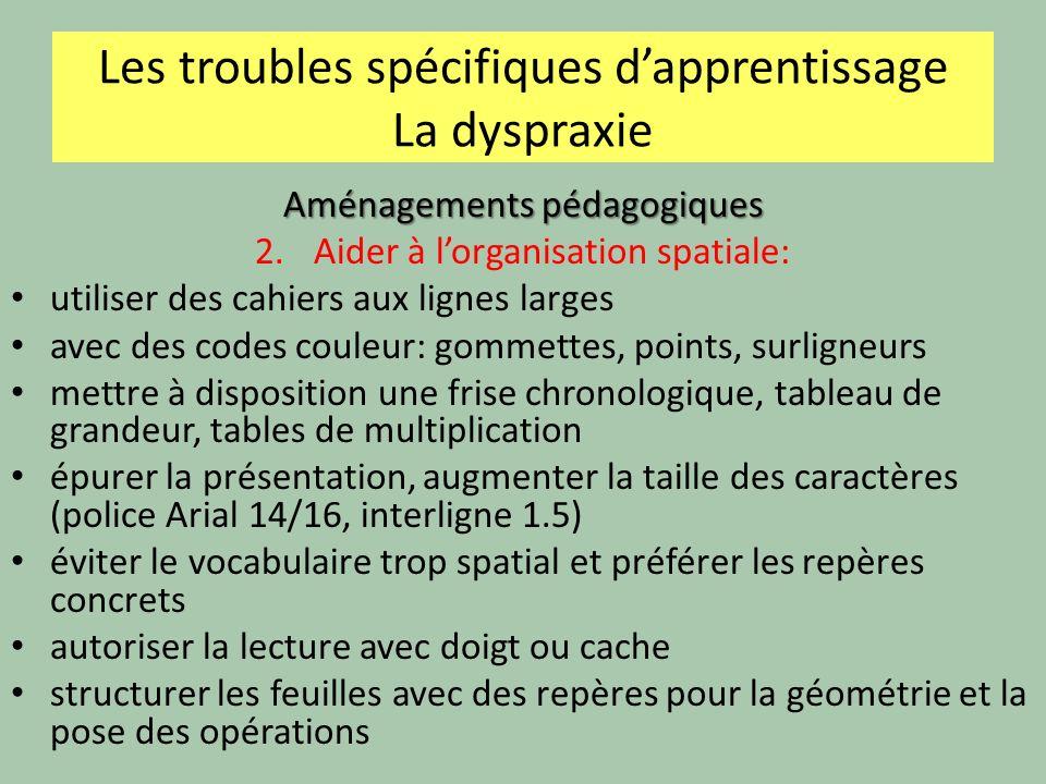 Les troubles spécifiques dapprentissage La dyspraxie Aménagements pédagogiques 2.Aider à lorganisation spatiale: utiliser des cahiers aux lignes large