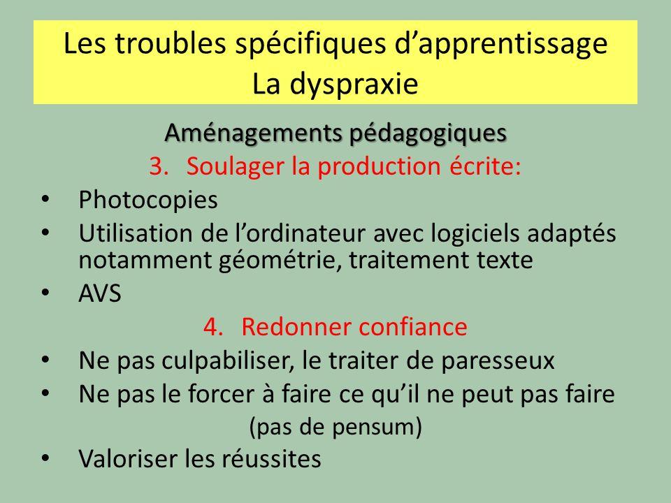 Les troubles spécifiques dapprentissage La dyspraxie Aménagements pédagogiques 3.Soulager la production écrite: Photocopies Utilisation de lordinateur