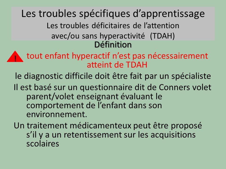Les troubles spécifiques dapprentissage Les troubles déficitaires de lattention avec/ou sans hyperactivité (TDAH) Définition tout enfant hyperactif ne
