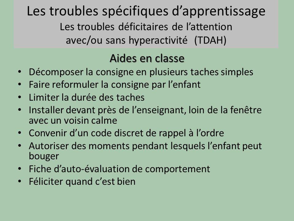 Les troubles spécifiques dapprentissage Les troubles déficitaires de lattention avec/ou sans hyperactivité (TDAH) Aides en classe Décomposer la consig
