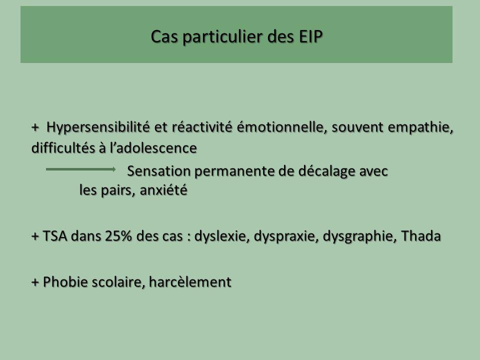 Cas particulier des EIP + Hypersensibilité et réactivité émotionnelle, souvent empathie, difficultés à ladolescence Sensation permanente de décalage avec les pairs, anxiété + TSA dans 25% des cas : dyslexie, dyspraxie, dysgraphie, Thada + Phobie scolaire, harcèlement