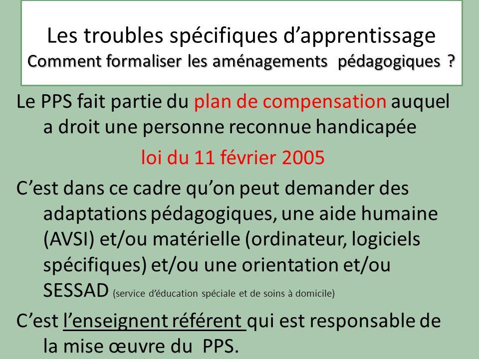 Les troubles spécifiques dapprentissage La dyslexie Le PPS fait partie du plan de compensation auquel a droit une personne reconnue handicapée loi du