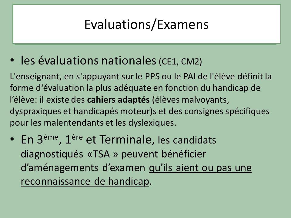 Les troubles spécifiques dapprentissage La dyslexie les évaluations nationales (CE1, CM2) L'enseignant, en s'appuyant sur le PPS ou le PAI de l'élève