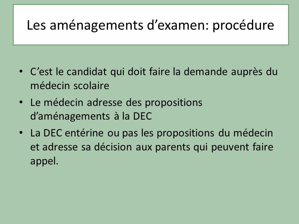 Cest le candidat qui doit faire la demande auprès du médecin scolaire Le médecin adresse des propositions daménagements à la DEC La DEC entérine ou pa
