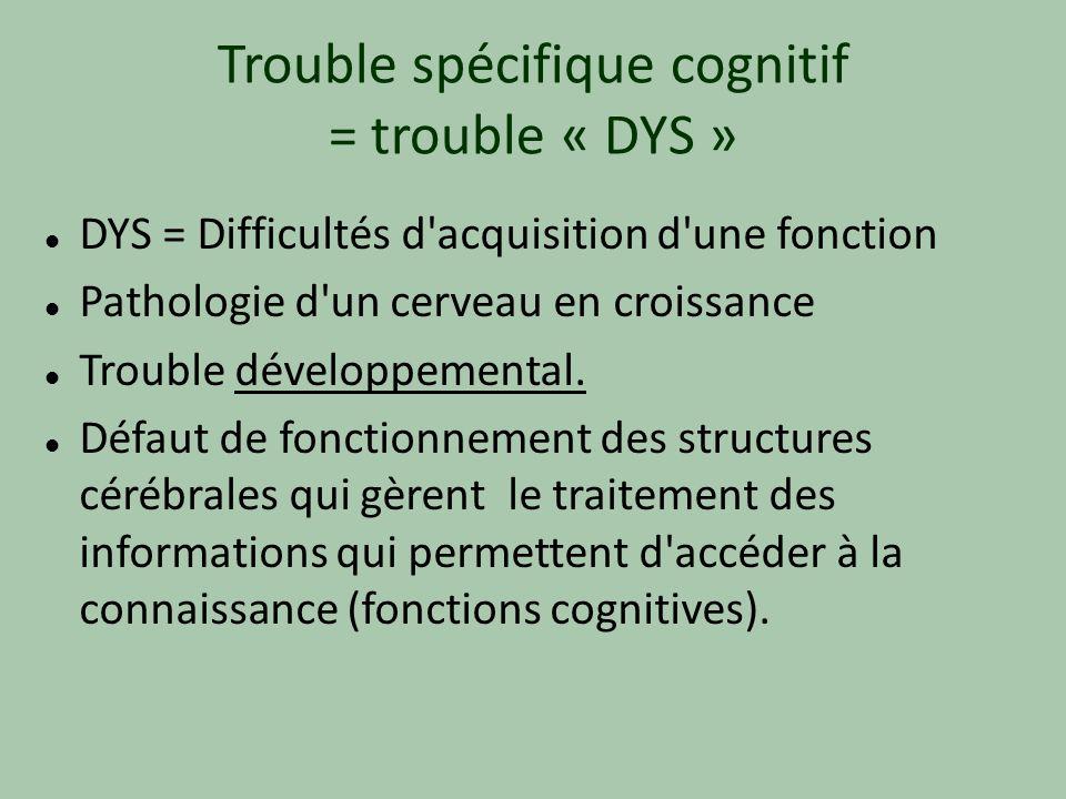 Trouble spécifique cognitif = trouble « DYS » DYS = Difficultés d'acquisition d'une fonction Pathologie d'un cerveau en croissance Trouble développeme