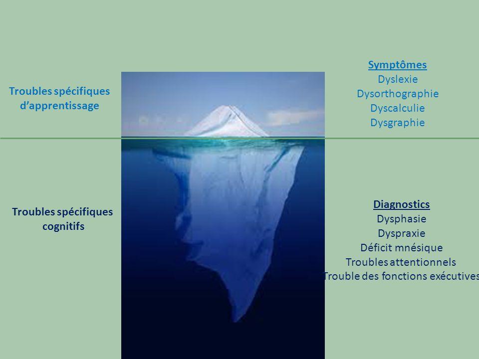 Troubles spécifiques dapprentissage Troubles spécifiques cognitifs Symptômes Dyslexie Dysorthographie Dyscalculie Dysgraphie Diagnostics Dysphasie Dys