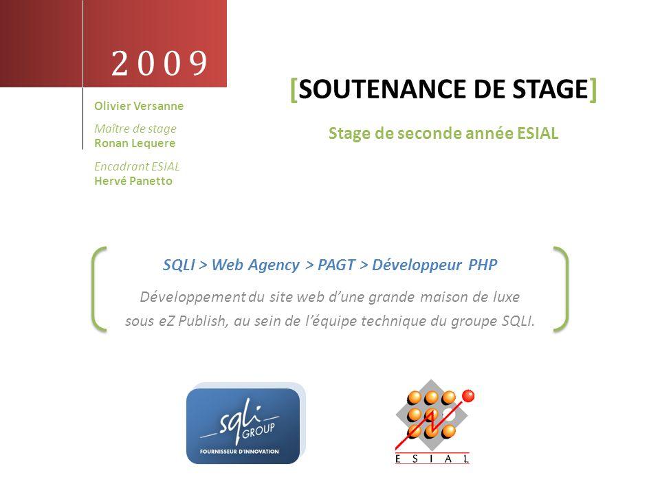 2009 [SOUTENANCE DE STAGE] Développement du site web dune grande maison de luxe sous eZ Publish, au sein de léquipe technique du groupe SQLI. SQLI > W