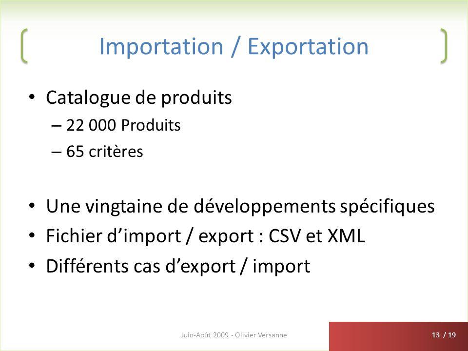 / 19 Importation / Exportation Catalogue de produits – 22 000 Produits – 65 critères Une vingtaine de développements spécifiques Fichier dimport / exp