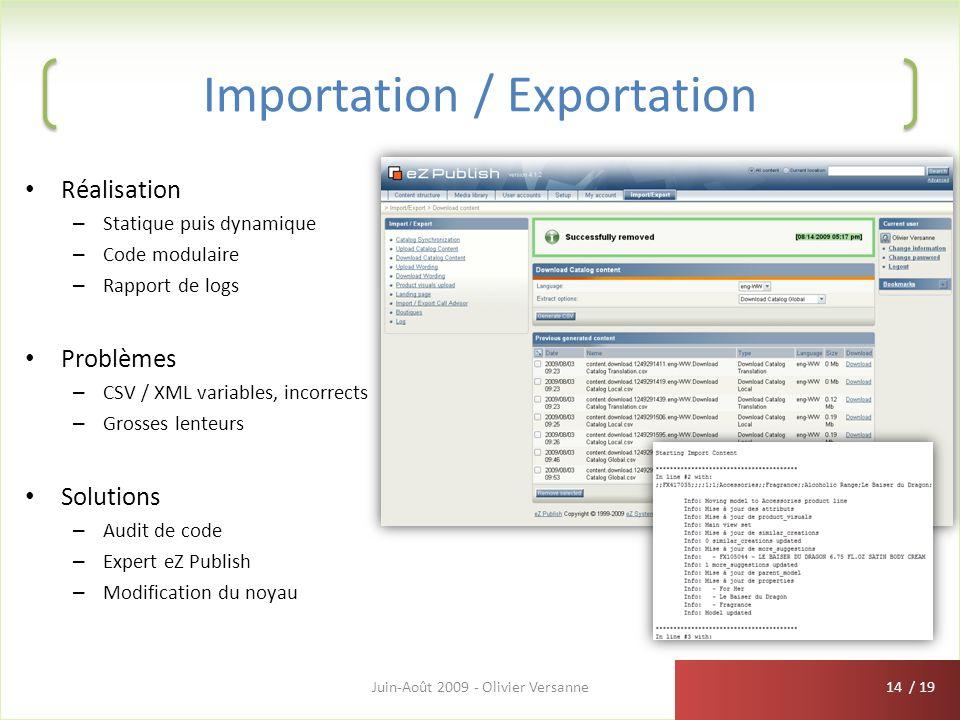 / 19 Importation / Exportation Réalisation – Statique puis dynamique – Code modulaire – Rapport de logs Problèmes – CSV / XML variables, incorrects –