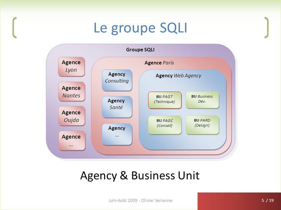 / 19 Le groupe SQLI Juin-Août 2009 - Olivier Versanne5 Groupe SQLI Agency Consulting Agency Santé Agency … Agence Paris Agency Web Agency BU PAGT (Tec