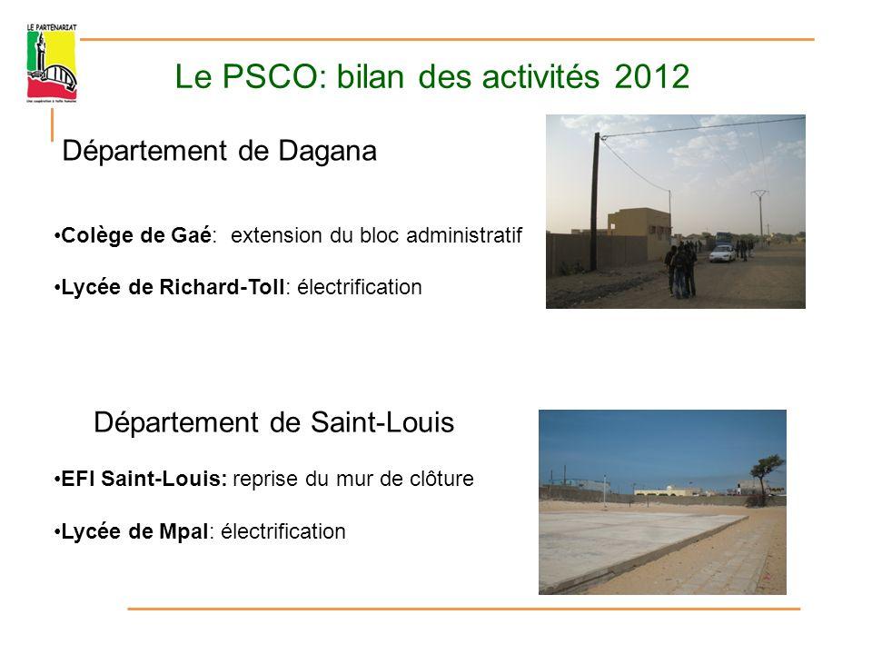 Le PSCO: bilan des activités 2012 Département de Podor Lycée de Cas-Cas: construction de 2 salles de classe, réhabilitation de 2 salles CEM de Méri: construction clé en main (PAISD)