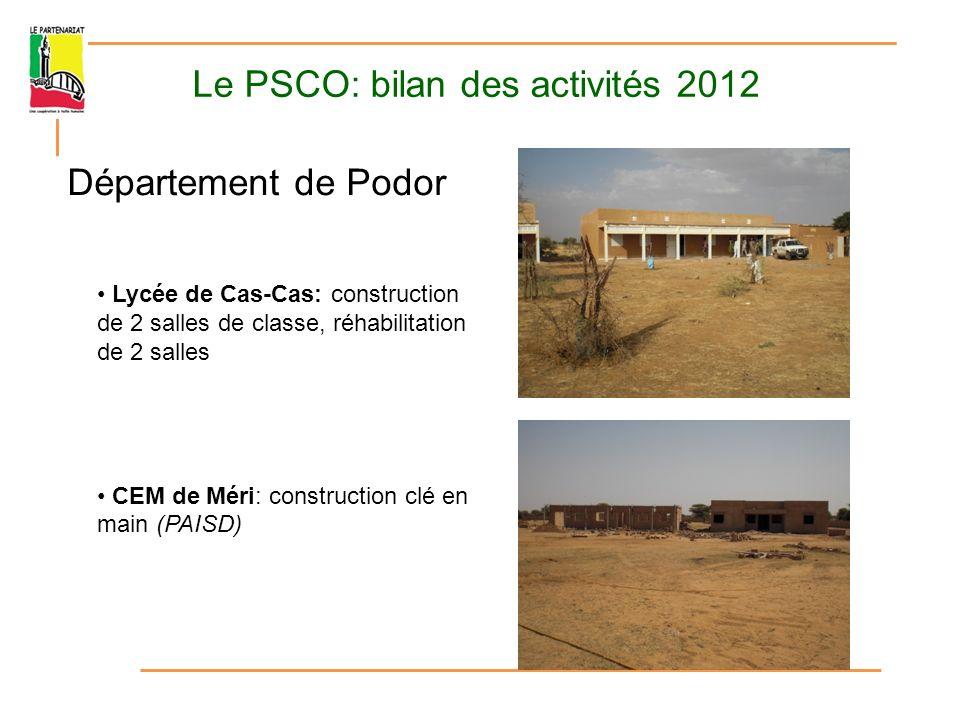 Le PSCO: bilan des activités 2012 Département de Podor CEM Bodé Lao: réhabilitation et construction de deux salles de classe (PAISD) CEM Ndiadène Pendao: finalisation des travaux Lycée de Démet: construction de deux salles de classe et de la maison du gardien (voûte nubienne)