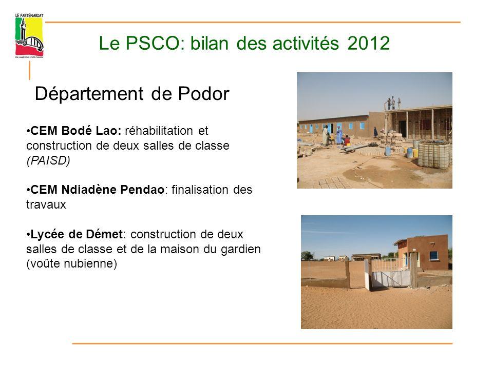 Le PSCO: bilan des activités 2012 Volet Accompagnement Formations entretien- maintenance Actions de sensibilisation et projets innovants avec le Collectif des enseignants