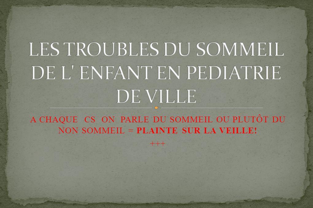 A CHAQUE CS ON PARLE DU SOMMEIL OU PLUTÔT DU NON SOMMEIL = PLAINTE SUR LA VEILLE! +++