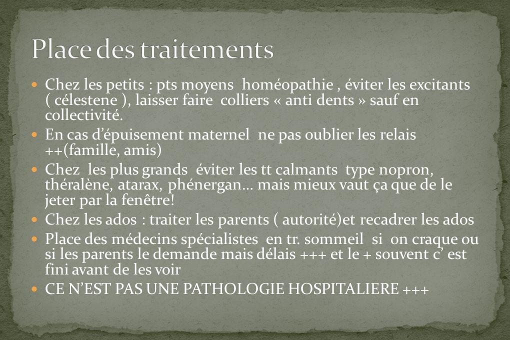 Chez les petits : pts moyens homéopathie, éviter les excitants ( célestene ), laisser faire colliers « anti dents » sauf en collectivité. En cas dépui
