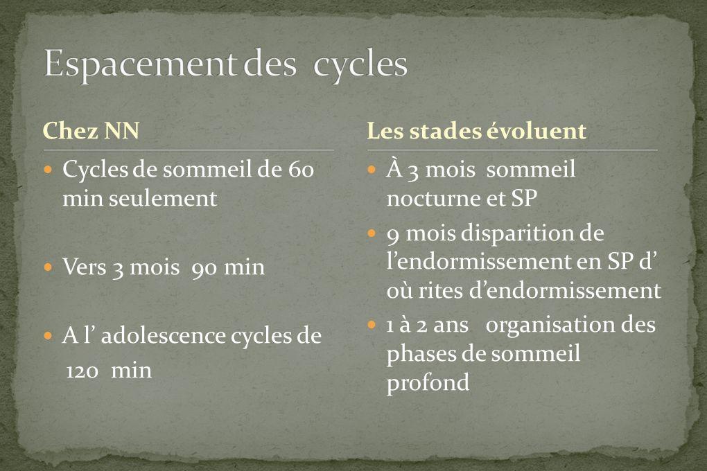 Chez NN Cycles de sommeil de 60 min seulement Vers 3 mois 90 min A l adolescence cycles de 120 min À 3 mois sommeil nocturne et SP 9 mois disparition