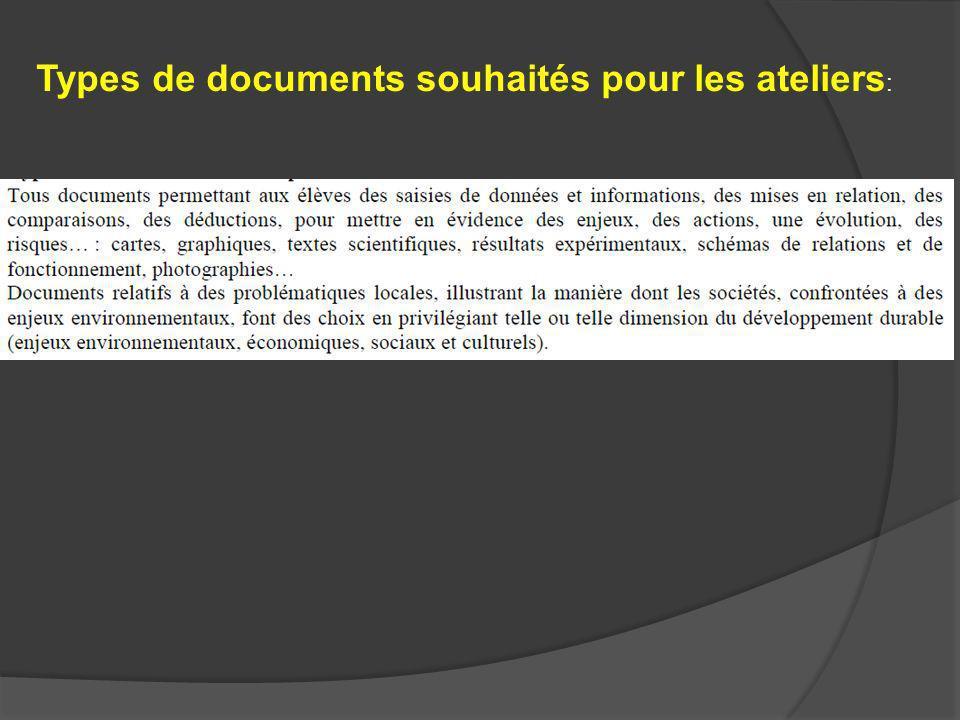 Types de documents souhaités pour les ateliers :