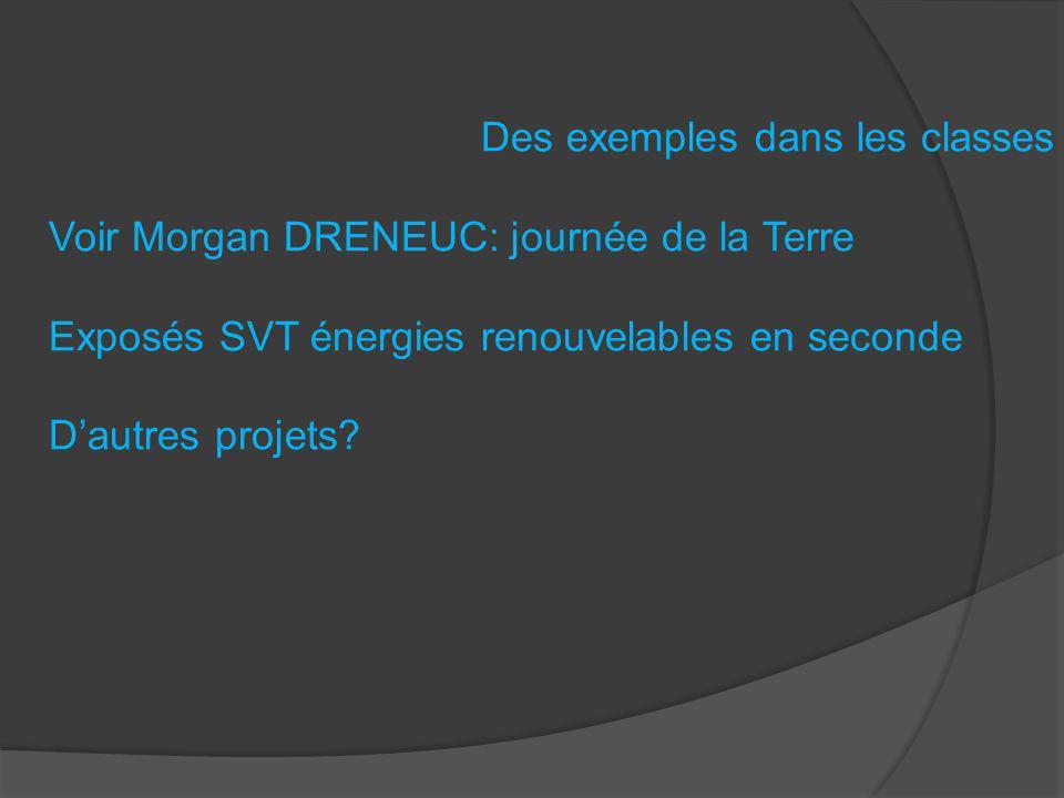 Des exemples dans les classes Voir Morgan DRENEUC: journée de la Terre Exposés SVT énergies renouvelables en seconde Dautres projets?