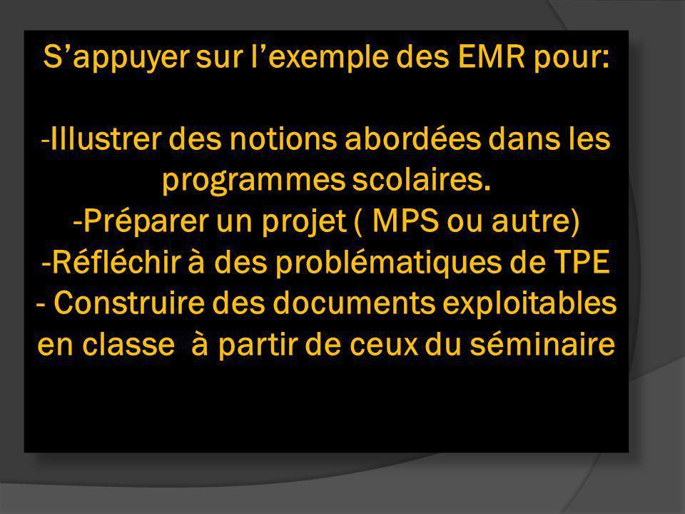 Sappuyer sur lexemple des EMR pour: -Illustrer des notions abordées dans les programmes scolaires. -Préparer un projet ( MPS ou autre) -Réfléchir à de