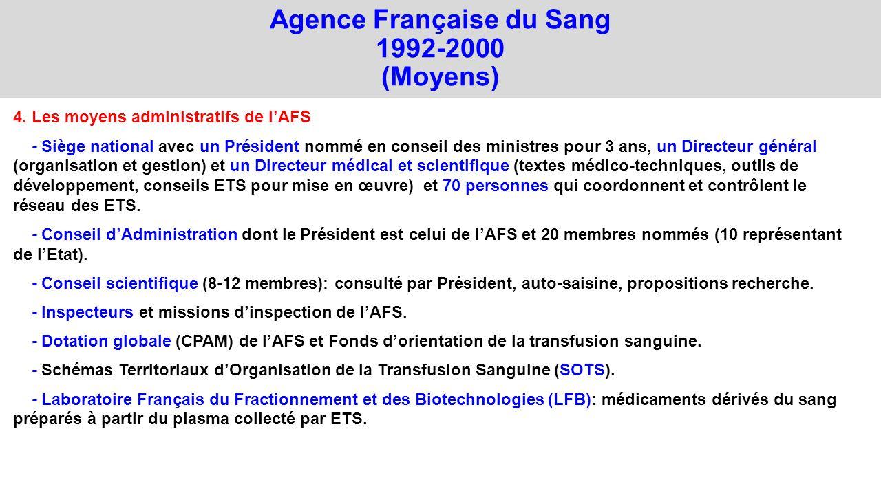 Agence Française du Sang 1992-2000 (Moyens) 4. Les moyens administratifs de lAFS - Siège national avec un Président nommé en conseil des ministres pou