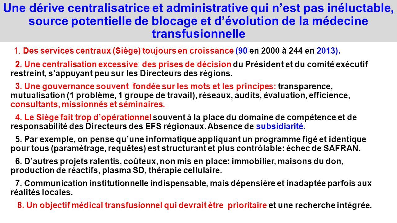 Une dérive centralisatrice et administrative qui nest pas inéluctable, source potentielle de blocage et dévolution de la médecine transfusionnelle 1.