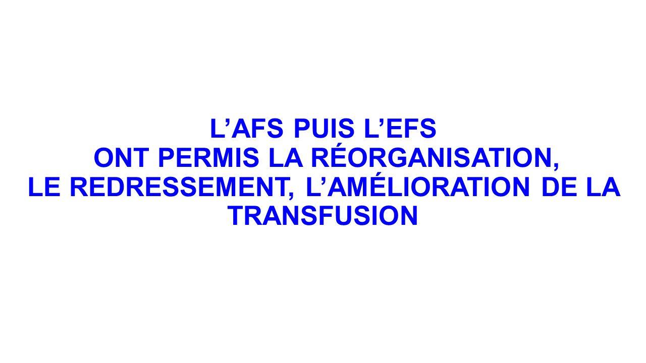 LAFS PUIS LEFS ONT PERMIS LA RÉORGANISATION, LE REDRESSEMENT, LAMÉLIORATION DE LA TRANSFUSION
