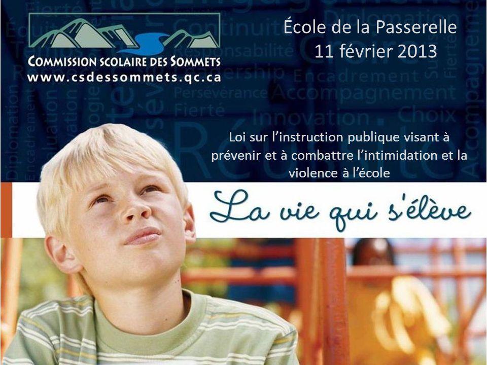 École de la Passerelle 11 février 2013 Loi sur linstruction publique visant à prévenir et à combattre lintimidation et la violence à lécole