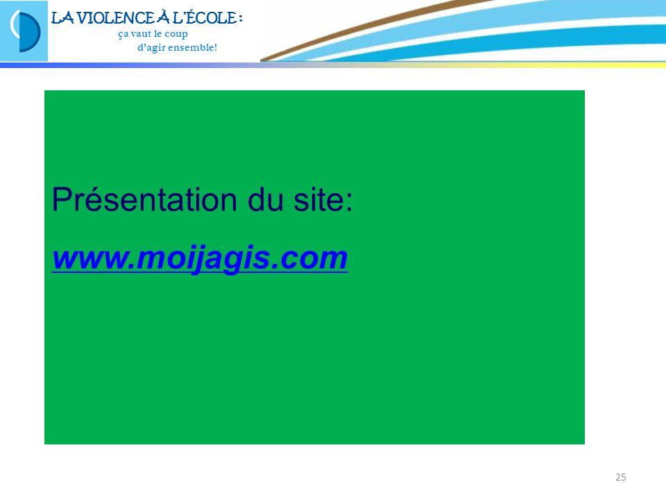 25 Présentation du site: www.moijagis.com LA VIOLENCE À LÉCOLE : ça vaut le coup dagir ensemble!