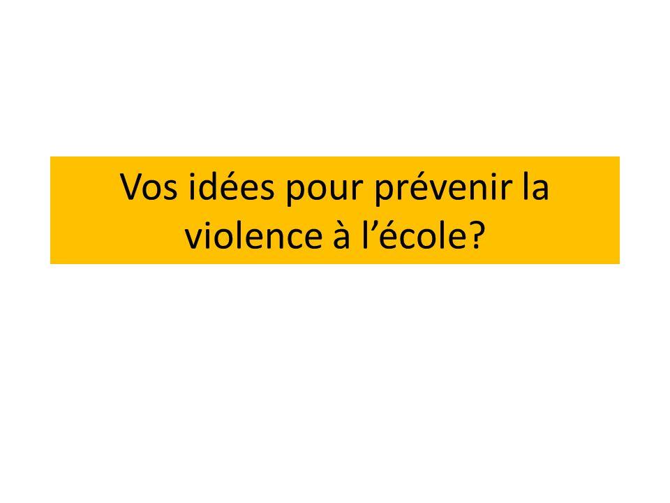 Vos idées pour prévenir la violence à lécole