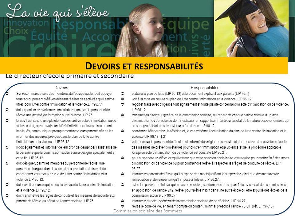 Commission scolaire des Sommets Devoirs et responsabilités Le personnel Collabore à la mise en œuvre du plan (art.