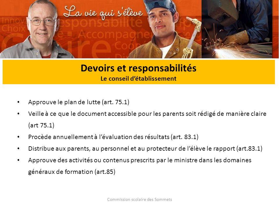 Commission scolaire des Sommets Devoirs et responsabilités Le conseil détablissement Approuve le plan de lutte (art.