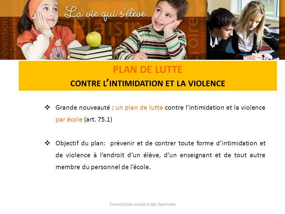 Commission scolaire des Sommets PLAN DE LUTTE CONTRE L INTIMIDATION ET LA VIOLENCE Grande nouveauté : un plan de lutte contre lintimidation et la violence par école (art.