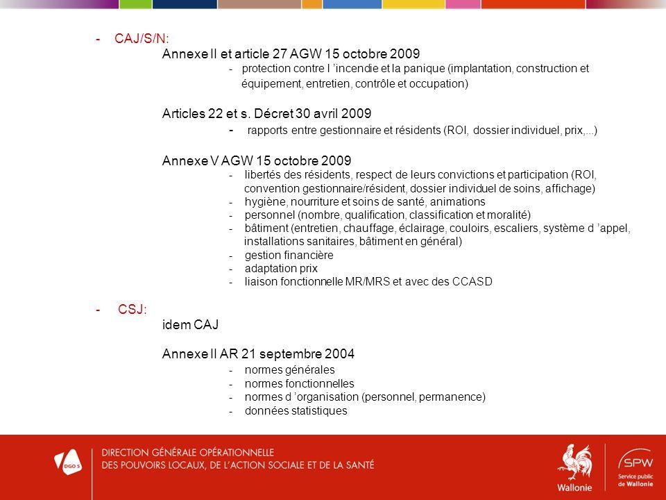 - CAJ/S/N: Annexe II et article 27 AGW 15 octobre 2009 - protection contre l incendie et la panique (implantation, construction et équipement, entretien, contrôle et occupation) Articles 22 et s.