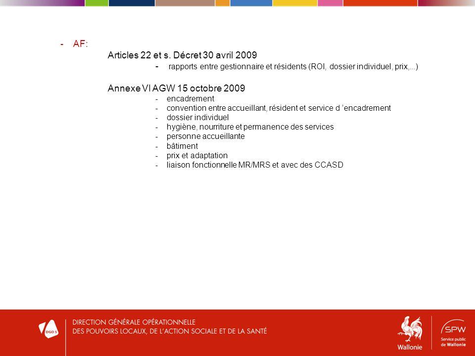 - AF: Articles 22 et s.
