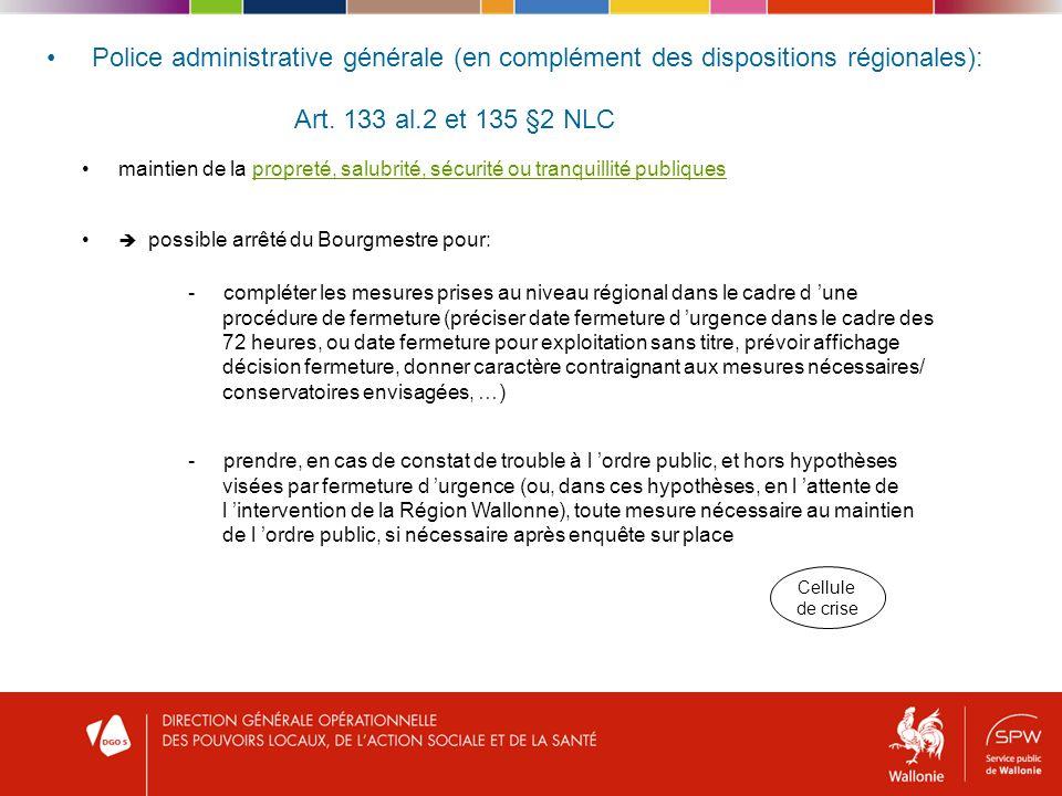 Police administrative générale (en complément des dispositions régionales): Art.