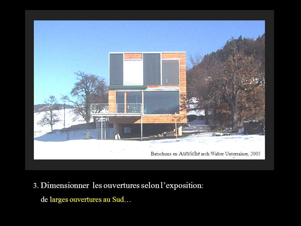 3. Dimensionner les ouvertures selon lexposition : de larges ouvertures au Sud… Batschuns en Autriche arch:Walter Unterrainer, 2005