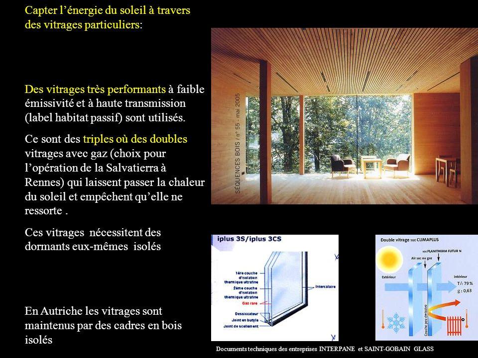 Capter lénergie du soleil à travers des vitrages particuliers: Des vitrages très performants à faible émissivité et à haute transmission (label habitat passif) sont utilisés.