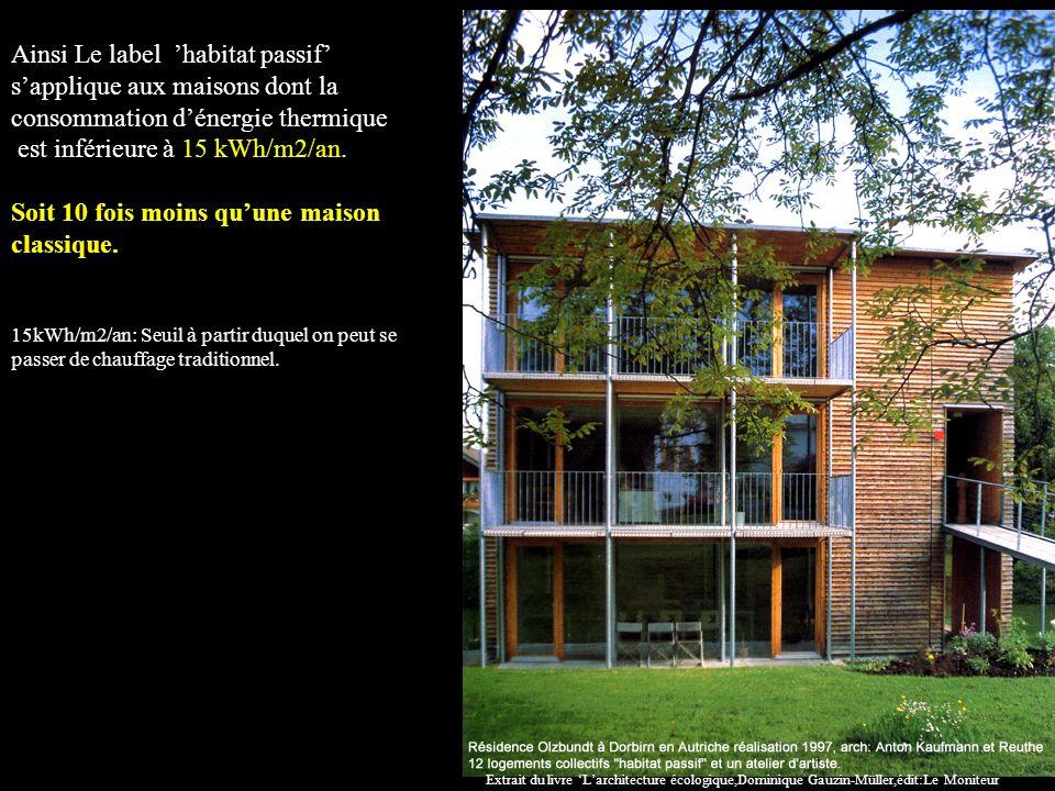 Ainsi Le label habitat passif sapplique aux maisons dont la consommation dénergie thermique est inférieure à 15 kWh/m2/an.