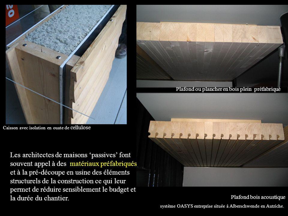 Les architectes de maisons passives font souvent appel à des matériaux préfabriqués et à la pré-découpe en usine des éléments structurels de la construction ce qui leur permet de réduire sensiblement le budget et la durée du chantier.