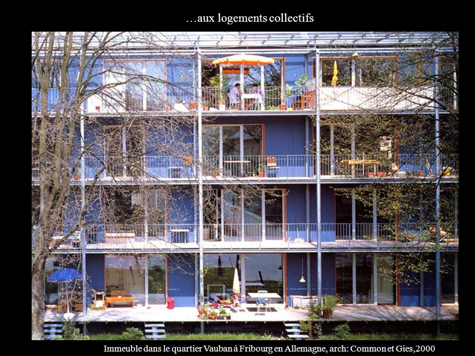 …aux logements collectifs Immeuble dans le quartier Vauban à Fribourg en Allemagne, arch: Common et Gies,2000