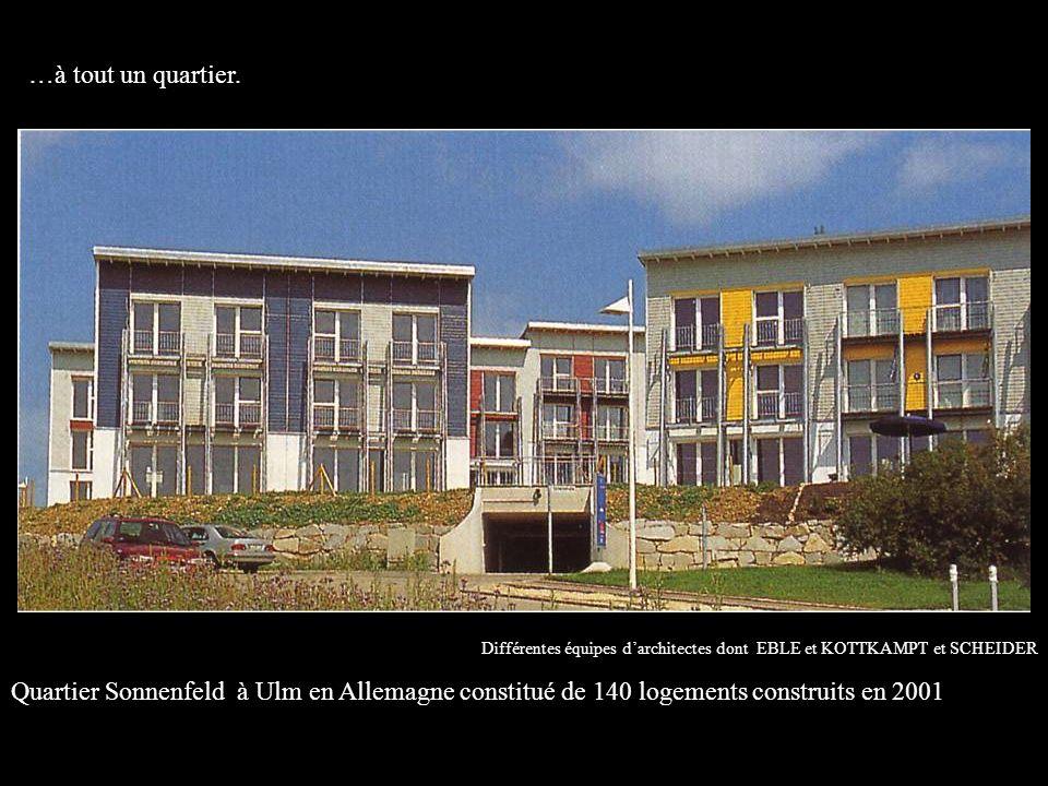 Différentes équipes darchitectes dont EBLE et KOTTKAMPT et SCHEIDER Quartier Sonnenfeld à Ulm en Allemagne constitué de 140 logements construits en 2001 …à tout un quartier.