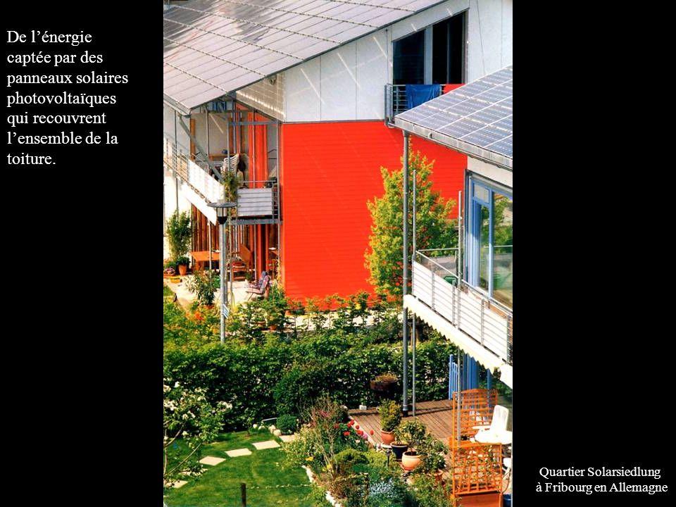 delà de la maison né Quartier Solarsiedlung à Fribourg en Allemagne De lénergie captée par des panneaux solaires photovoltaïques qui recouvrent lensemble de la toiture.