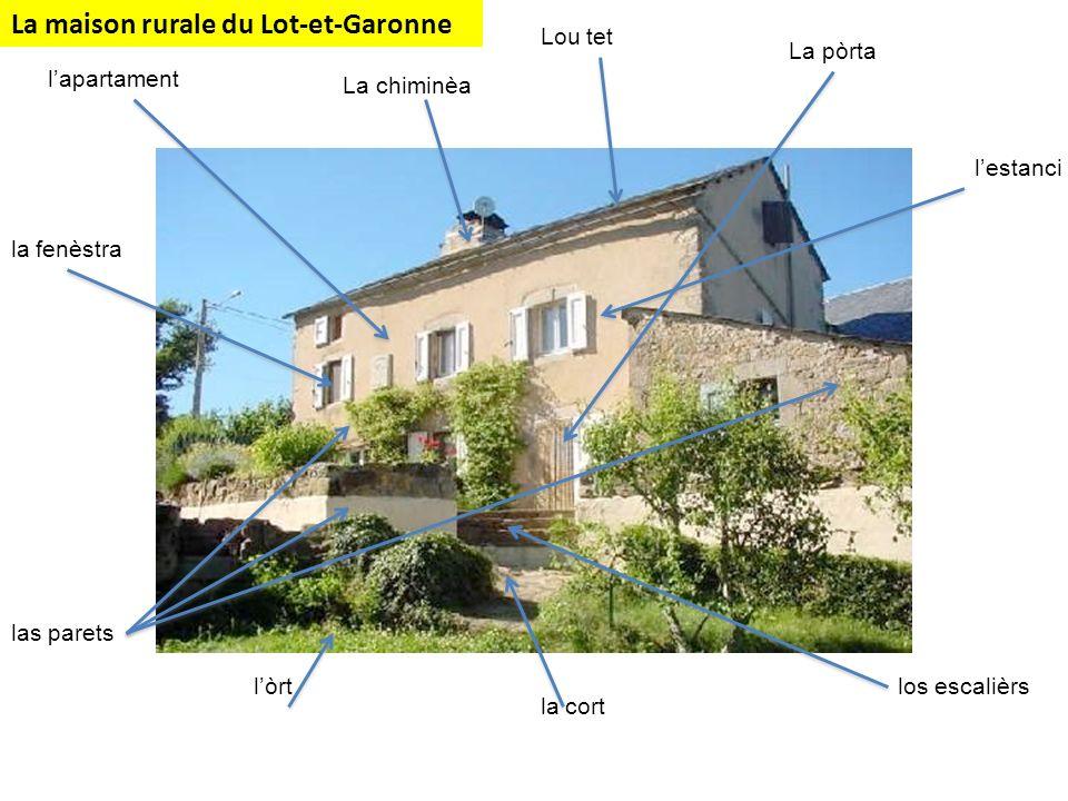 La pòrta la fenèstra las parets La chiminèa los escalièrs la cort lòrt lapartament lestanci Lou tet La maison rurale du Lot-et-Garonne