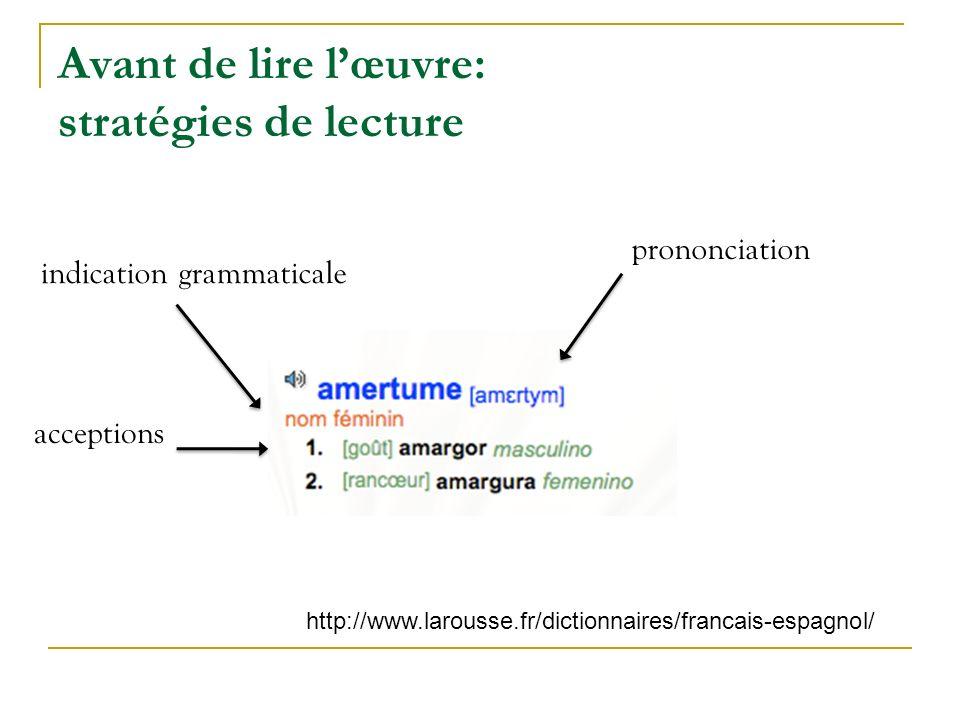 Avant de lire lœuvre: stratégies de lecture indication grammaticale acceptions prononciation http://www.larousse.fr/dictionnaires/francais-espagnol/