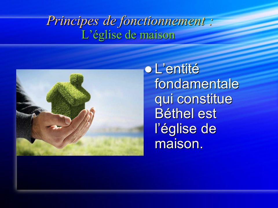 Principes de fonctionnement : Léglise de maison Principes de fonctionnement : Léglise de maison Lentité fondamentale qui constitue Béthel est léglise de maison.