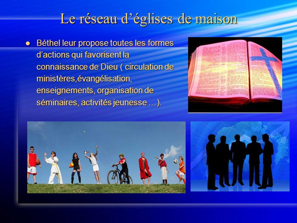 Le réseau déglises de maison Béthel leur propose toutes les formes dactions qui favorisent la connaissance de Dieu ( circulation de ministères,évangélisation, enseignements, organisation de séminaires, activités jeunesse …).