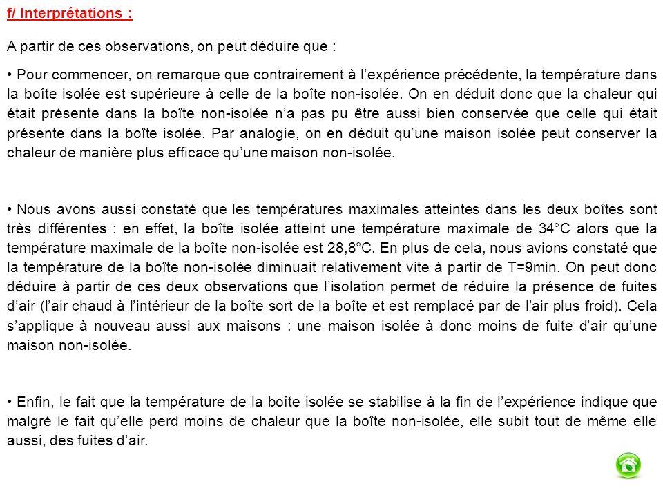 f/ Interprétations : A partir de ces observations, on peut déduire que : Pour commencer, on remarque que contrairement à lexpérience précédente, la température dans la boîte isolée est supérieure à celle de la boîte non-isolée.