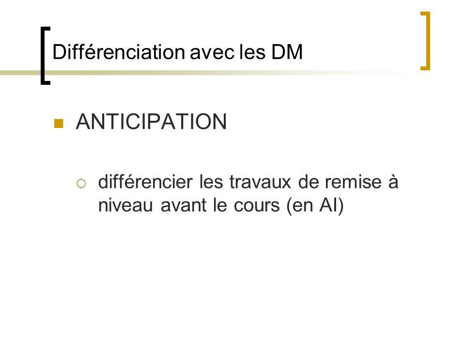 Différenciation avec les DM ANTICIPATION différencier les travaux de remise à niveau avant le cours (en AI)