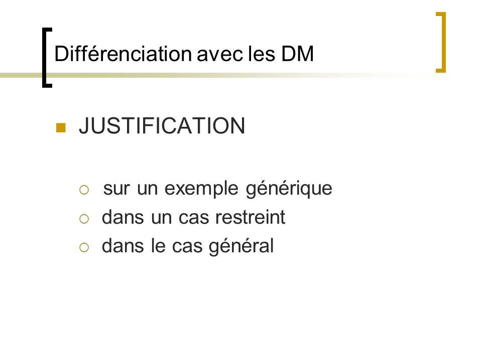 Différenciation avec les DM JUSTIFICATION sur un exemple générique dans un cas restreint dans le cas général