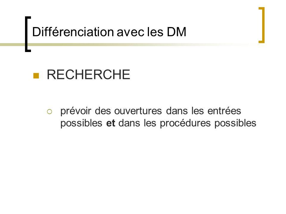 Différenciation avec les DM RECHERCHE prévoir des ouvertures dans les entrées possibles et dans les procédures possibles